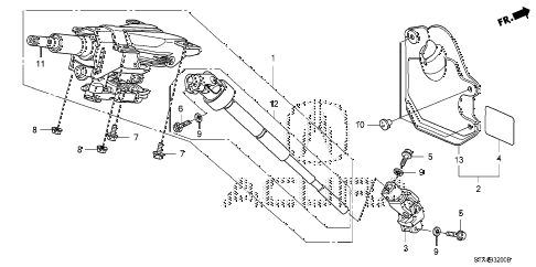 2009 MDX 5 DOOR 5AT STEERING COLUMN diagram