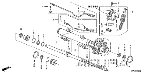 2009 MDX 5 DOOR 5AT P.S. GEAR BOX COMPONENTS diagram