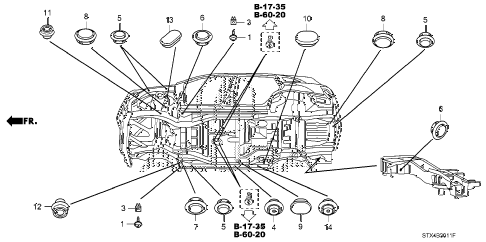 2007 MDX TECH 5 DOOR 5AT GROMMET (LOWER) diagram