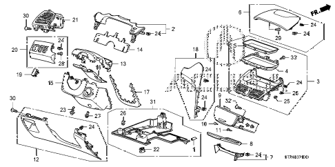 2009 MDX 5 DOOR 5AT INSTRUMENT PANEL GARNISH (DRIVER SIDE) diagram