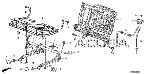 2008 MDX SPORT 5 DOOR 5AT MIDDLE SEAT COMPONENTS (L.) diagram