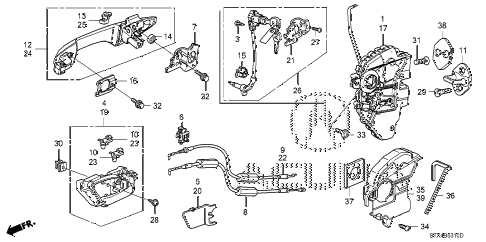 2009 MDX 5 DOOR 5AT FRONT DOOR LOCKS - OUTER HANDLE diagram
