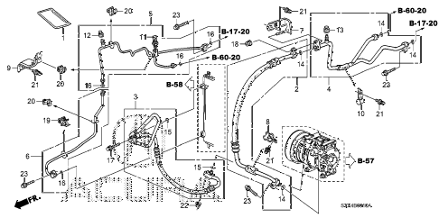 2007 MDX SPORT 5 DOOR 5AT A/C HOSES - PIPES diagram