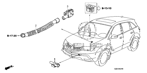 2008 MDX SPORT 5 DOOR 5AT A/C SENSOR diagram