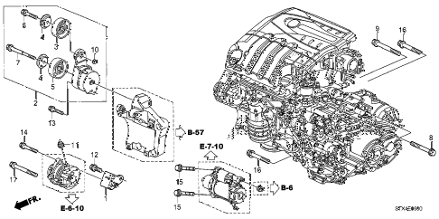 2008 MDX SPORT 5 DOOR 5AT ALTERNATOR BRACKET  - TENSIONER diagram