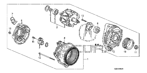 2007 MDX SPORT 5 DOOR 5AT ALTERNATOR (DENSO) diagram
