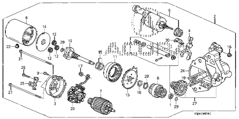 2008 MDX SPORT 5 DOOR 5AT STARTER MOTOR (DENSO) diagram