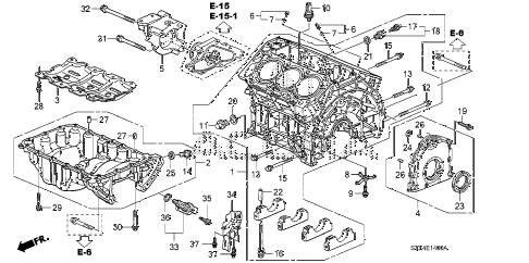 2007 MDX SPORT 5 DOOR 5AT CYLINDER BLOCK - OIL PAN diagram