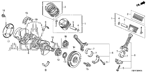 2007 MDX TECH 5 DOOR 5AT CRANKSHAFT - PISTON diagram