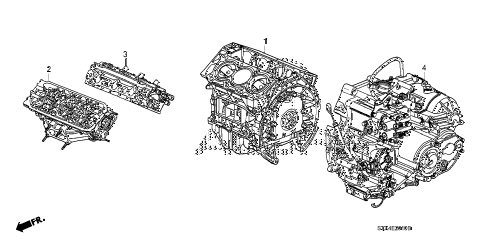 2007 MDX SPORT 5 DOOR 5AT ENGINE ASSY. - TRANSMISSION ASSY. diagram