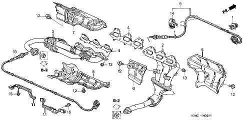2005 NSX-T 2 DOOR 6MT EXHAUST MANIFOLD (MT) diagram