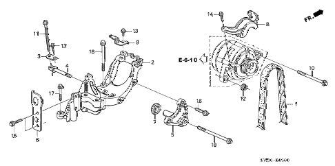 2004 NSX-T 2 DOOR 6MT ALTERNATOR BRACKET diagram