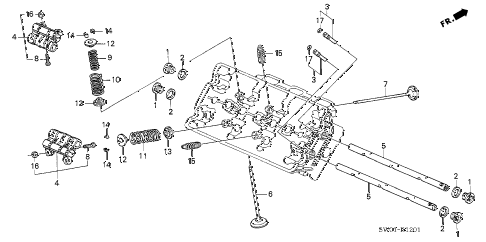 2003 NSX-T 2 DOOR 6MT VALVE - ROCKER ARM (RR.) diagram