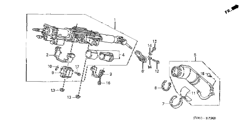 2004 NSX-T 2 DOOR 6MT STEERING COLUMN diagram
