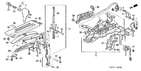 2003 NSX-T 2 DOOR 4AT SELECT LEVER diagram