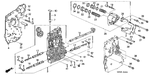 2005 NSX-T 2 DOOR 4AT AT MAIN VALVE BODY diagram