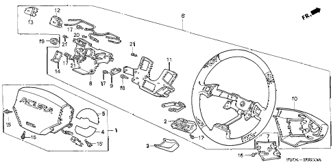 2003 NSX-T 2 DOOR 4AT STEERING WHEEL (SRS) diagram