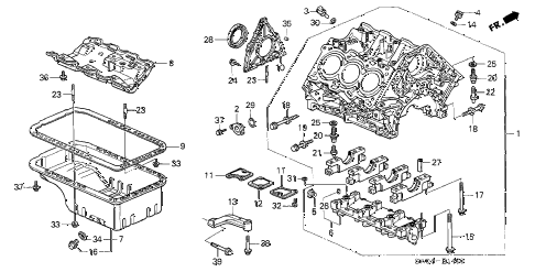 2004 NSX-T 2 DOOR 4AT CYLINDER BLOCK - OIL PAN diagram