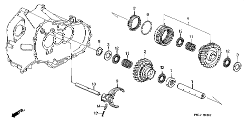 2005 NSX-T 2 DOOR 6MT MT REVERSE GEAR SHAFT diagram