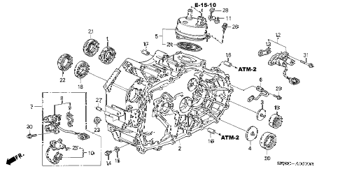 2003 NSX-T 2 DOOR 4AT AT TORQUE CONVERTER CASE diagram