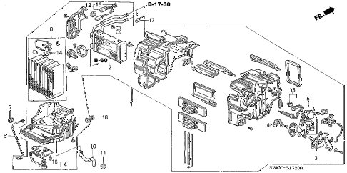 2005 NSX-T 2 DOOR 4AT HEATER UNIT diagram