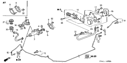 2005 NSX-T 2 DOOR 6MT CLUTCH MASTER CYLINDER diagram