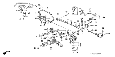 2004 NSX-T 2 DOOR 6MT REAR LOWER ARM diagram