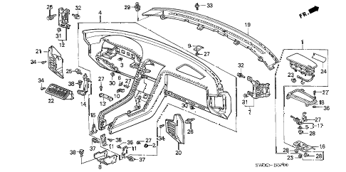 2005 NSX-T 2 DOOR 6MT INSTRUMENT PANEL diagram