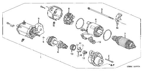2005 NSX-T 2 DOOR 6MT STARTER MOTOR (DENSO) diagram