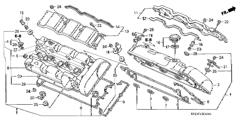 2004 NSX-T 2 DOOR 4AT CYLINDER HEAD COVER (2) diagram