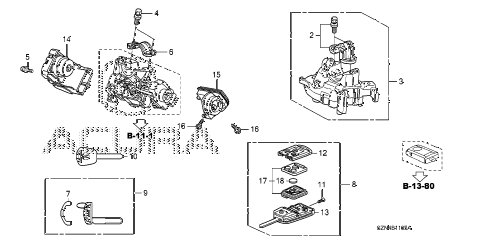 2011 ZDX TECH 5 DOOR 6AT KEY CYLINDER COMPONENTS diagram