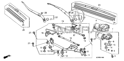 2012 ZDX BASE 5 DOOR 6AT FRONT WINDSHIELD WIPER diagram