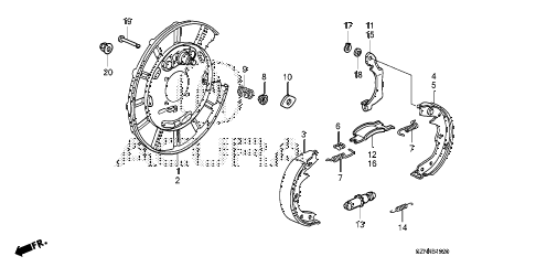 2011 ZDX BASE 5 DOOR 6AT PARKING BRAKE SHOE diagram
