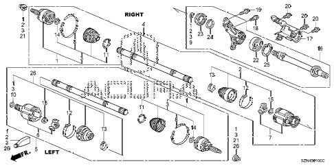 2011 ZDX TECH 5 DOOR 6AT DRIVESHAFT - HALF SHAFT diagram