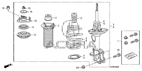 2012 ZDX BASE 5 DOOR 6AT FRONT SHOCK ABSORBER (1) diagram
