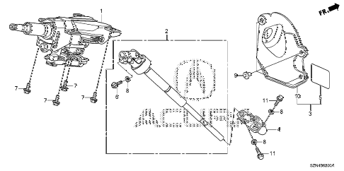 2012 ZDX TECH 5 DOOR 6AT STEERING COLUMN diagram
