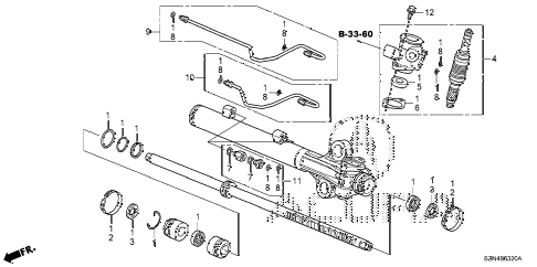 2011 ZDX TECH 5 DOOR 6AT P.S. GEAR BOX COMPONENTS (1) diagram