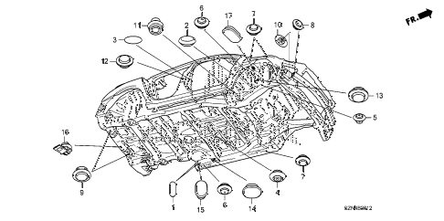2013 ZDX 5 DOOR 6AT GROMMET (LOWER) diagram