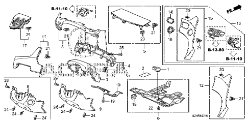 2010 ZDX ADV 5 DOOR 6AT INSTRUMENT PANEL GARNISH (DRIVER SIDE) diagram