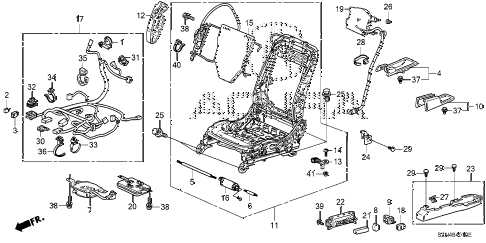 2013 ZDX 5 DOOR 6AT FRONT SEAT COMPONENTS (L.) diagram