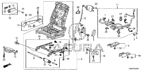 2010 ZDX BASE 5 DOOR 6AT FRONT SEAT COMPONENTS (R.) diagram