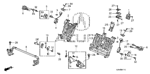 2010 ZDX BASE 5 DOOR 6AT REAR SEAT COMPONENTS diagram