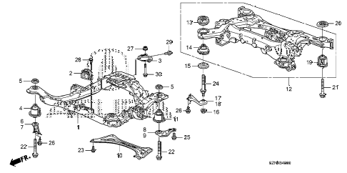2012 ZDX TECH 5 DOOR 6AT FRONT SUB FRAME - REAR BEAM diagram