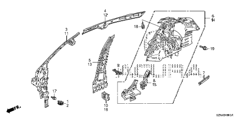 2013 ZDX 5 DOOR 6AT INNER PANEL diagram