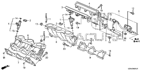 2012 ZDX TECH 5 DOOR 6AT FUEL INJECTOR diagram