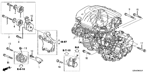 2013 ZDX 5 DOOR 6AT ALTERNATOR BRACKET  - TENSIONER diagram