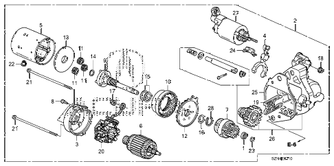 2013 ZDX 5 DOOR 6AT STARTER MOTOR (DENSO) diagram