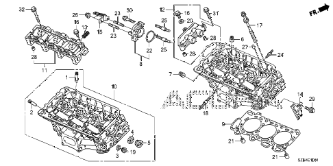 2011 ZDX BASE 5 DOOR 6AT REAR CYLINDER HEAD diagram