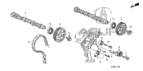 2012 ZDX BASE 5 DOOR 6AT CAMSHAFT - TIMING BELT diagram