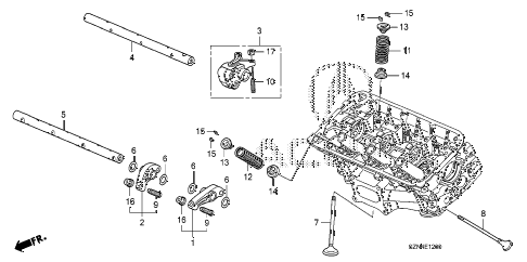 2012 ZDX BASE 5 DOOR 6AT VALVE - ROCKER ARM (FR.) diagram